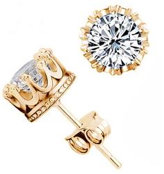 Gold Color Crown Earrings Stud unisex