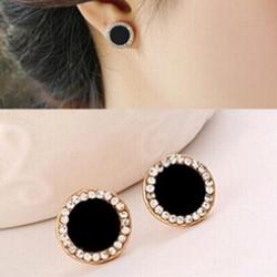Black crystal earrings sunflowers