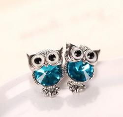 Crystal Owl Girls Stud Earrings