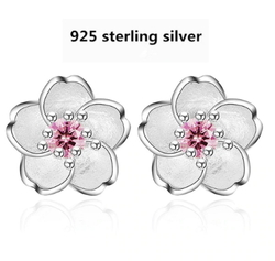 925 sterling silver fashion Cherry blossoms flower crystal