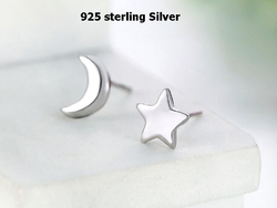 925 sterling silver high quality moon & star