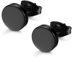 1 Pair Ear Studs Earrings Black Plated Round Shaped with Butterfly Clasp