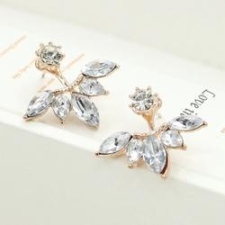 Crystal Ear Cuff Clip Leaf Stud Earrings