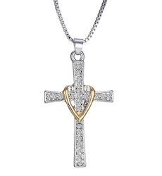 Cross Pendant Necklace Heart Fashion Christian Jewelry