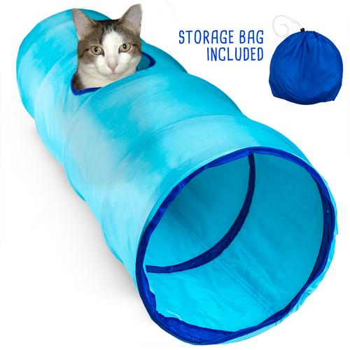 """52"""" Blue Krinkle Cat Tunnel with Peek Hole and Storage Bag"""