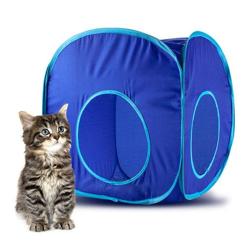 Blue Pop-Up Cat Play Cube with Storage Bag