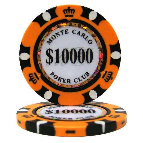 $10,000 Monte Carlo 14 Gram Poker Chips