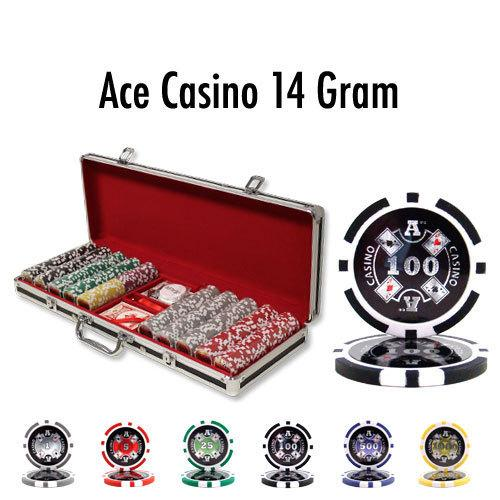 500 Ct - Pre-Packaged - Ace Casino 14 Gram - Black Aluminum