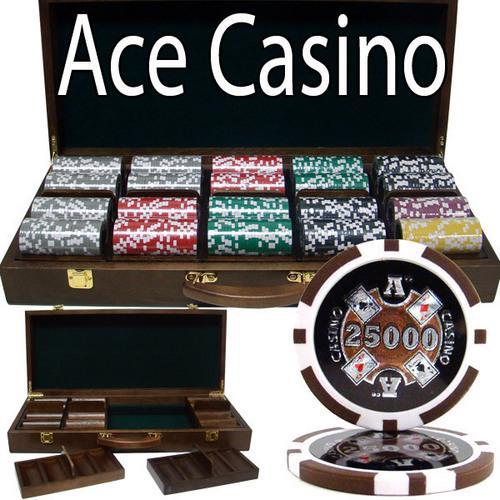 500 Ct - Pre-Packaged - Ace Casino 14 Gram - Walnut Case