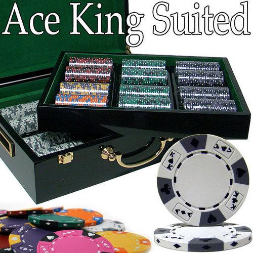 Custom - 500 Ct Ace King Suited Chip Set Hi Gloss Case
