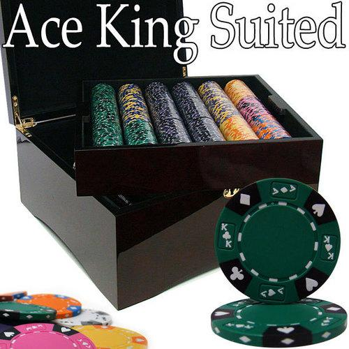 Custom - 750 Ct Ace King Suited Chip Set Mahogany Case