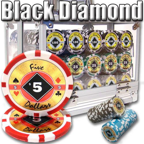 600 Ct. Black Diamond Poker Acrylic Case 14g Custom Breakout