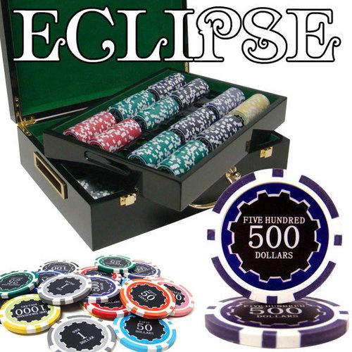 500 Ct Pre-Packaged Eclipse 14G Poker Chip Set - Hi Gloss