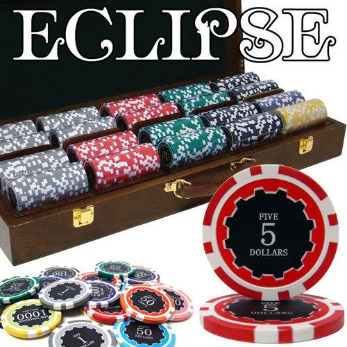500 Ct Custom Breakout Eclipse 14G Poker Chip Set - Walnut