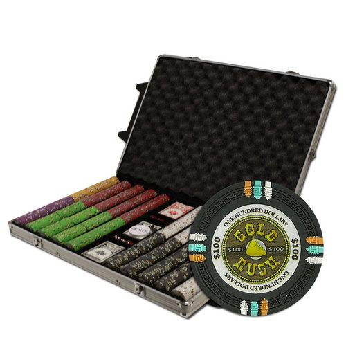 """1000Ct Claysmith Gaming """"Gold Rush"""" Chip Set in Rolling Case"""