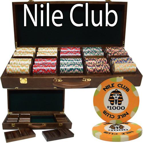 500 Ct Standard Breakout Nile Club Chip Set - Walnut Case