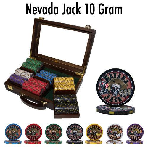 Pre-Packaged 300 Ct Nevada Jack 10 Gram Chip Set - Walnut
