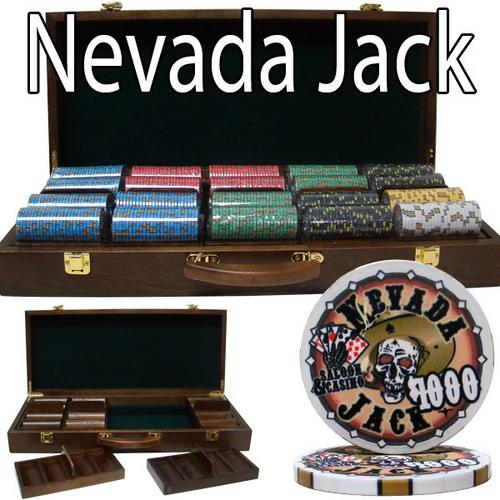 Pre-Packaged - 500 Ct Nevada Jack 10g Walnut Case Chip Set