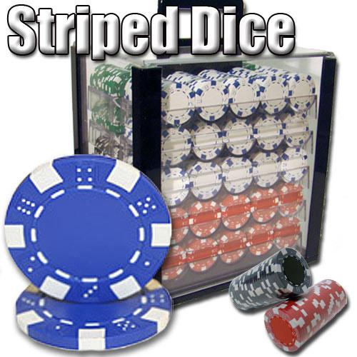 1,000 Ct - Pre-Packaged - Striped Dice 11.5 G - Acrylic