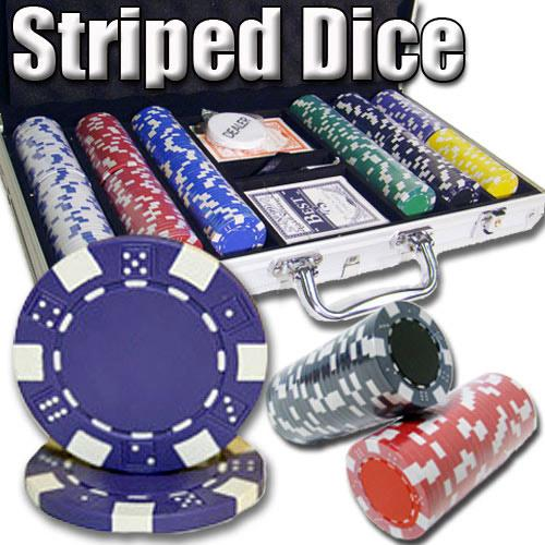 300 Ct - Pre-Packaged - Striped Dice 11.5 G - Aluminum