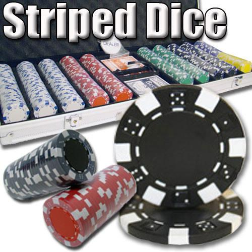 500 Ct - Pre-Packaged - Striped Dice 11.5 G - Aluminum
