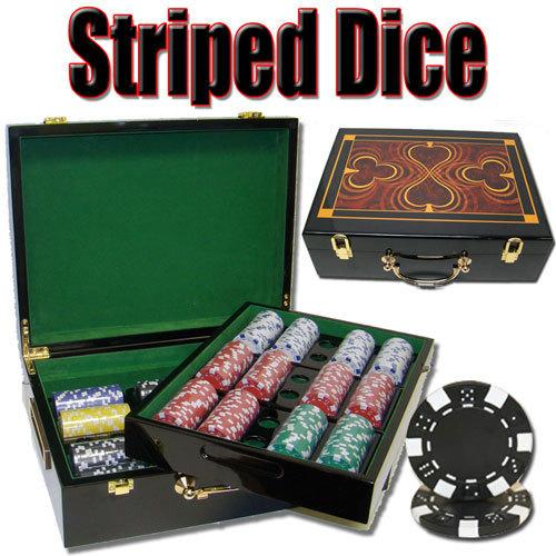500 Ct - Pre-Packaged Striped Dice 11.5g - Hi Gloss