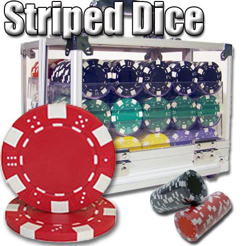 600 Ct - Pre-Packaged - Striped Dice 11.5 G - Acrylic