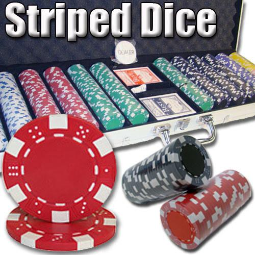 600 Ct - Pre-Packaged - Striped Dice 11.5 G - Aluminum