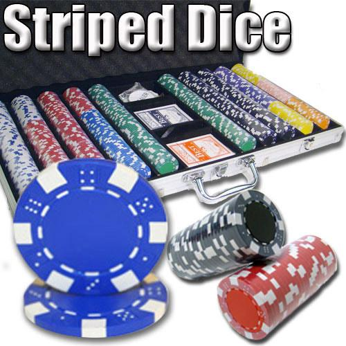 750 Ct - Pre-Packaged - Striped Dice 11.5 G - Aluminum
