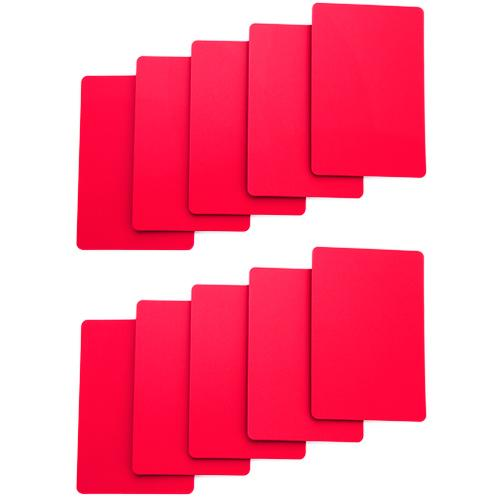 Set of 10 Red Plastic Bridge Size Cut Cards