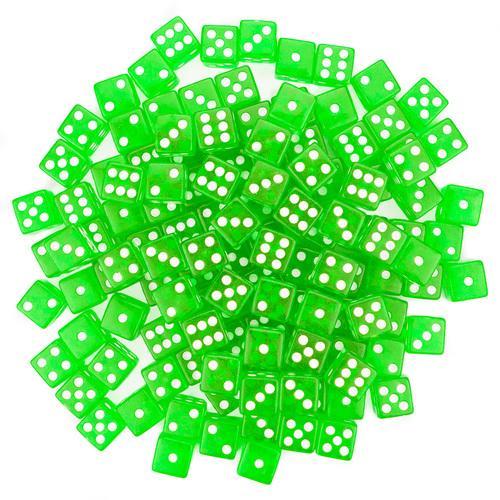 100 Green Dice - 16 mm