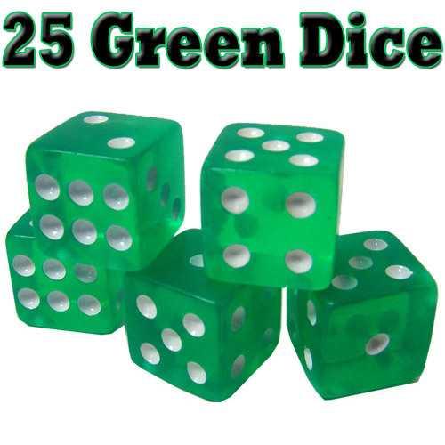 25 Green Dice - 16 mm