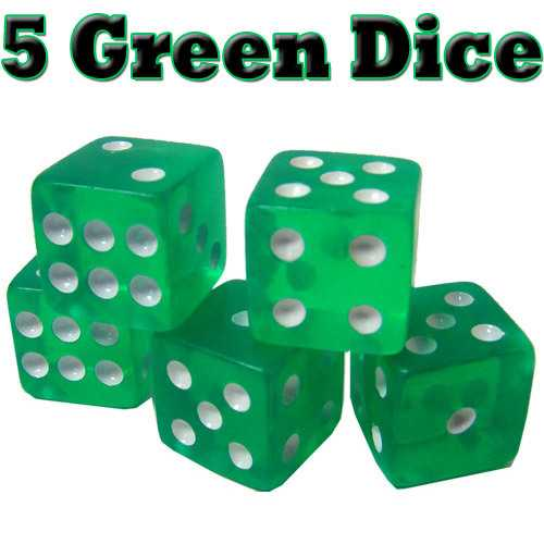 5 Green Dice - 16mm