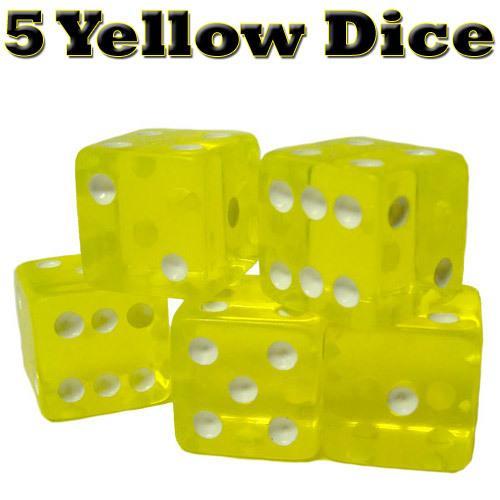 25 Yellow Dice - 16 mm