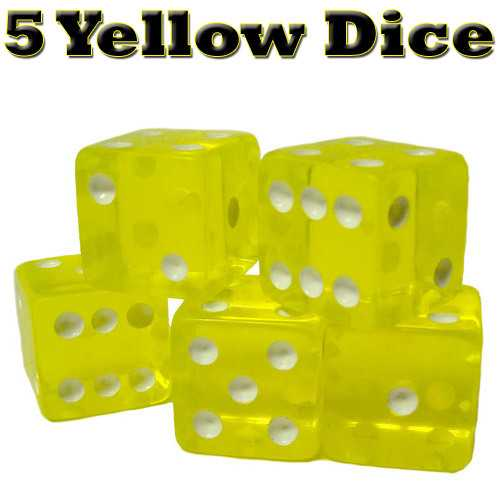 5 Yellow Dice - 16mm