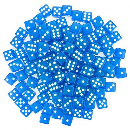 100 Blue Dice - 16 mm