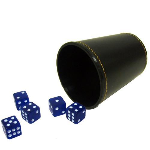 5 Blue 16mm Dice with Synthetic Leather Cup
