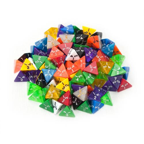 100+ Pack of Random D4 Polyhedral Dice in Multiple Colors