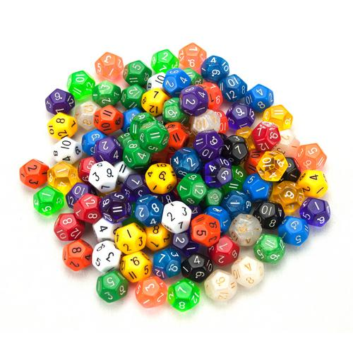 100+ Pack of Random D12 Polyhedral Dice in Multiple Color
