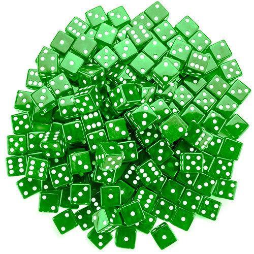 100 Green Dice - 19 mm