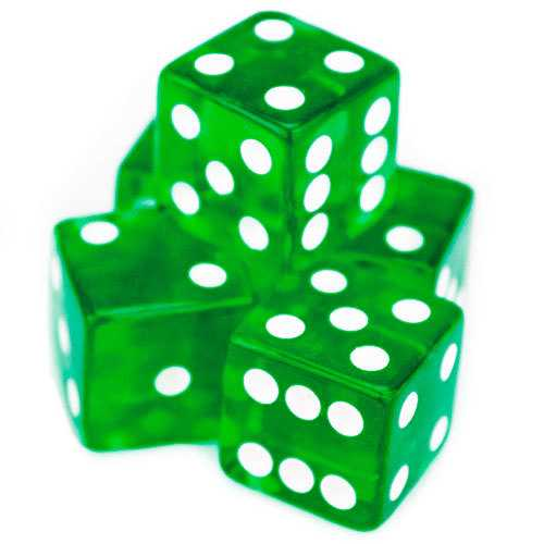 5 Green Dice - 19mm