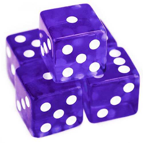 5 Purple Dice - 19mm