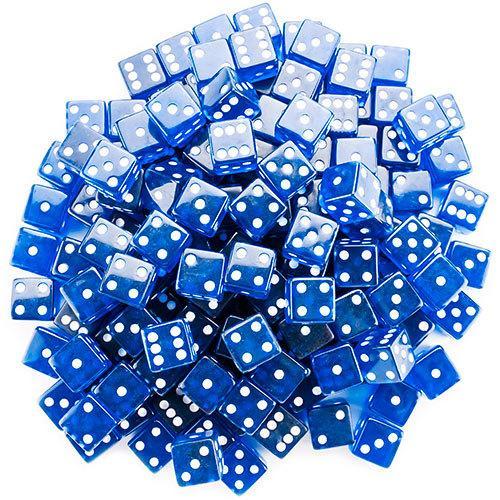 100 Blue Dice - 19 mm