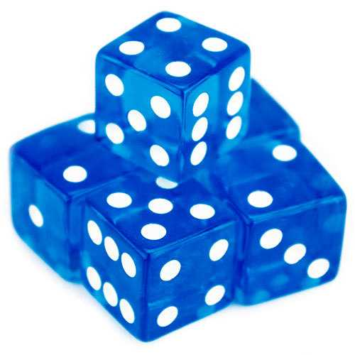 5 Blue Dice - 19mm