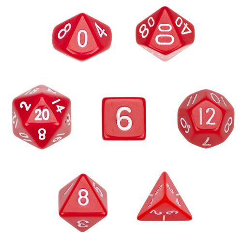 7 Die Polyhedral Dice Set  in Velvet Pouch- Opaque Red