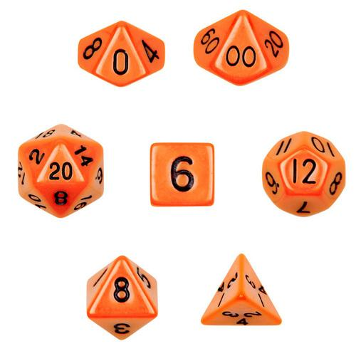 7 Die Polyhedral Dice Set in Velvet Pouch- Opaque Orange