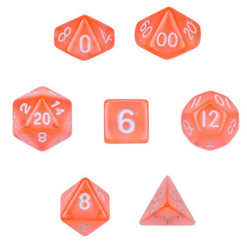 7 Die Polyhedral Set  in Velvet Pouch-Translucent Orange