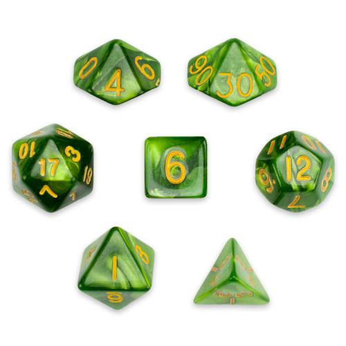 7 Die Polyhedral Set in Velvet Pouch, Jade Oil