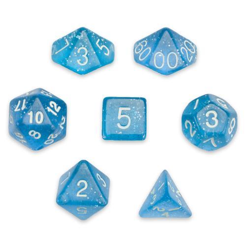 7 Die Polyhedral Set in Velvet Pouch, Diamond Dust
