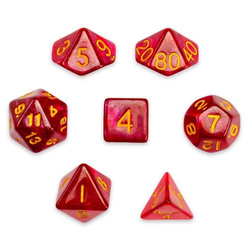 7 Die Polyhedral Set in Velvet Pouch, Philosopher's Stone